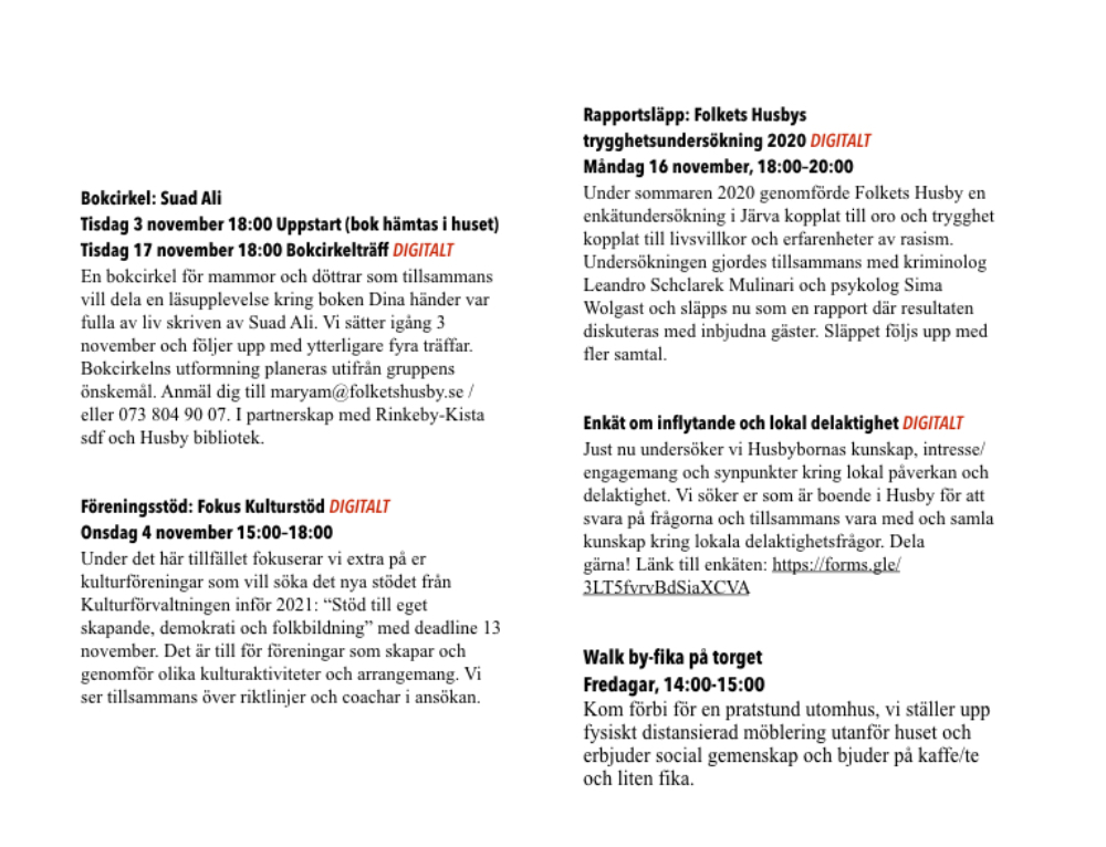 Program fram till 19/11